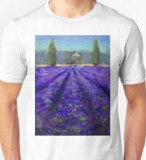 Plein Air Lavender Landscape and Farm House Impressionistic Painting T-Shirt