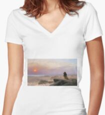 Jean-Leon Gerome - The Two Majesties. Sea landscape: sea view, mountains, calm sea, king of beasts, coast seaside, sunset, marin, seascape, sun clouds, nautical panorama, lion Women's Fitted V-Neck T-Shirt