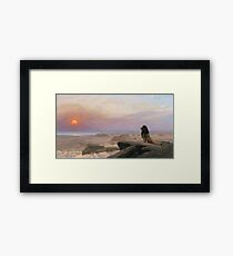 Jean-Leon Gerome - The Two Majesties. Sea landscape: sea view, mountains, calm sea, king of beasts, coast seaside, sunset, marin, seascape, sun clouds, nautical panorama, lion Framed Print