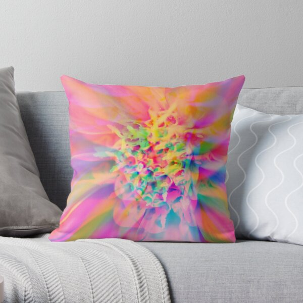 Colorful Abstract Flower Throw Pillow