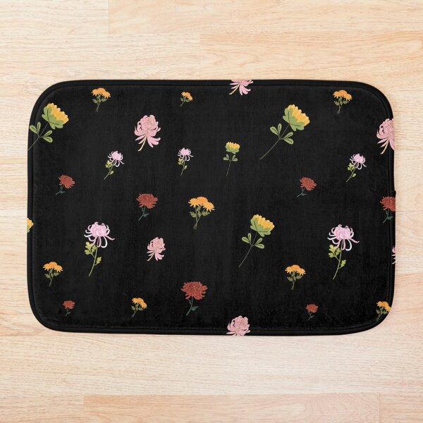 Bunch of Mums Pattern 1 Chrysanthemums Bouquet Black Bg Bath Mat