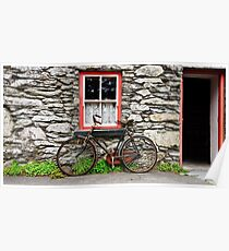 rural old stone cottage house bicycle countryside ireland Poster