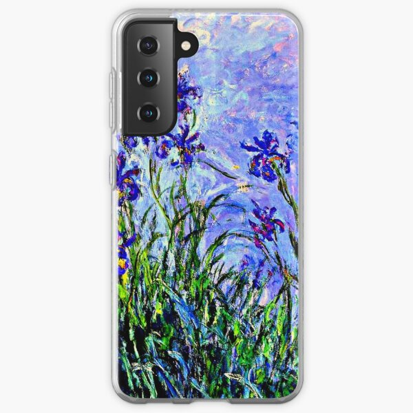 Monet Masterpiece - Irises, painting by Claude Monet Samsung Galaxy Soft Case