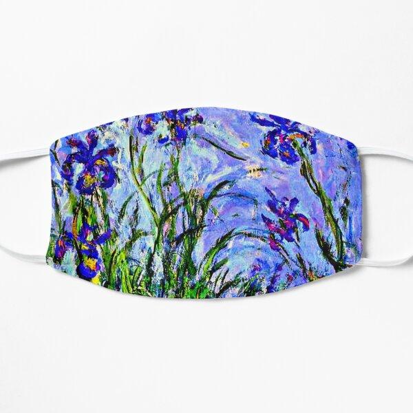 Monet Masterpiece - Irises, painting by Claude Monet Flat Mask