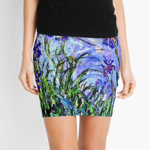 Monet Masterpiece - Irises, painting by Claude Monet Mini Skirt