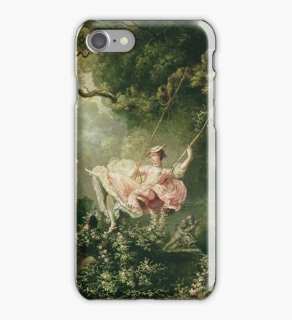Jean-Honore Fragonard - The Swing. Lovers portrait: sensual woman, woman and man, kiss, kissing lovers, love relations, lovely couple, family, valentine's day, sexy, romance, female and male iPhone Case/Skin