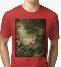 Jean-Honore Fragonard - The Swing. Lovers portrait: sensual woman, woman and man, kiss, kissing lovers, love relations, lovely couple, family, valentine's day, sexy, romance, female and male Tri-blend T-Shirt