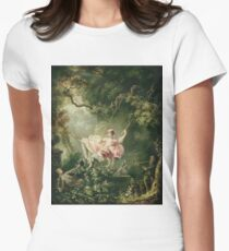 Jean-Honore Fragonard - The Swing. Lovers portrait: sensual woman, woman and man, kiss, kissing lovers, love relations, lovely couple, family, valentine's day, sexy, romance, female and male Women's Fitted T-Shirt