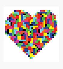 Colorful Tetris Heart Photographic Print