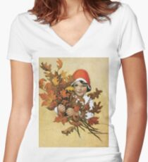 Jessie Willcox Smith - Girl With Fall Leaves. Child portrait: cute baby, kid, children, pretty angel, child, kids, lovely family, boys and girls, boy and girl, mom mum mammy mam, childhood Women's Fitted V-Neck T-Shirt