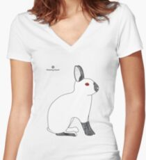 Himalayan Agouti (Chinchilla) Rabbit Women's Fitted V-Neck T-Shirt