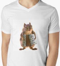 Eichhörnchen, das ein Akkordeon spielt T-Shirt mit V-Ausschnitt