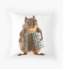 Squirrel Playing an Accordion Throw Pillow