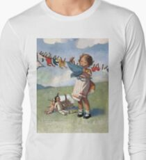 Jessie Willcox Smith - Hanging Doll Clothes On A Windy Day. Child portrait: cute baby, kid, children, pretty angel, child, kids, lovely family, boys and girls, boy and girl, mom mum mammy mam, T-Shirt