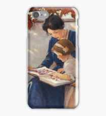 Jessie Willcox Smith - Mother Helps With The Abc Mother with kid portrait: cute girl, mother and daughter, female, pretty angel, child, beautiful dress, lovely family, mothers day, memory, mom, baby iPhone Case/Skin