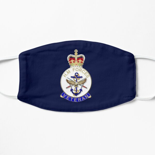 HM FORCES VETERAN BADGE. BRITISH VETERAN. On Navy Blue. Flat Mask
