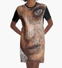 Studio Portrait in Pencil Graphic T-Shirt Dress