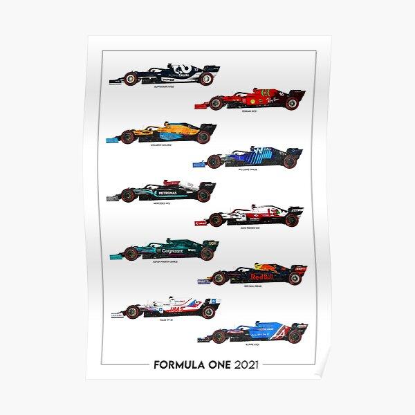 Portrait d'illustration de grille de formule 1 2021 Poster