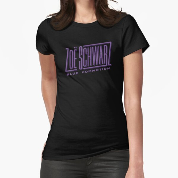 Zoe Schwarz Blue Commotion Logo Fitted T-Shirt