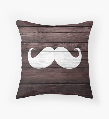 Funny Mustache on Wood Texture Throw Pillow