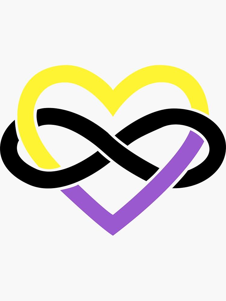Non-Binary Polyamory Infinity Heart (White) by polyphiliashop