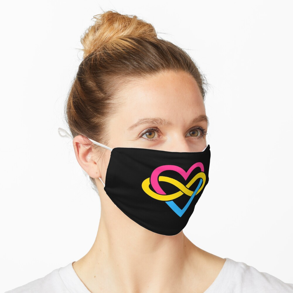 Pansexual Polyamory Infinity Heart (Black) Mask