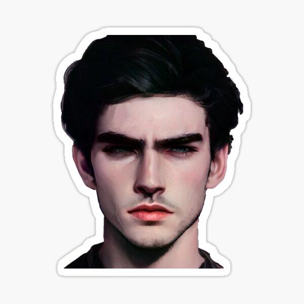 Portrait of a brunette man, art drawing of a man. Portrait of a man by photo Sticker