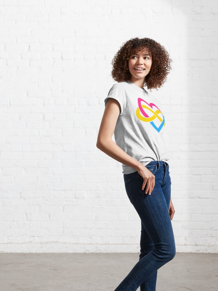 Alternate view of Pansexual Polyamory Infinity Heart (White) Classic T-Shirt