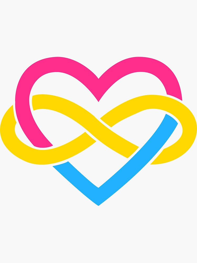 Pansexual Polyamory Infinity Heart (White) by polyphiliashop