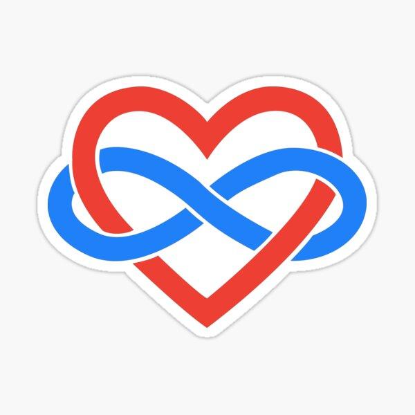 Polyamory Infinity Heart (Black) Sticker