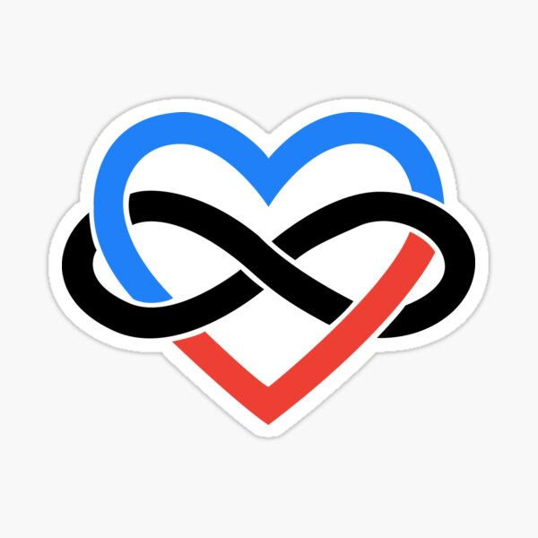 Polyamory Infinity Heart (White) Sticker