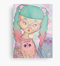 Cat Lady Metal Print
