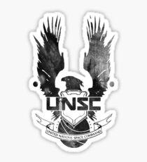 Halo UNSC Faded Watercolor Print Black on White Sticker