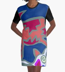 Colorful Abstract Art Throw Pillow in Blue, Pink and Orange Graphic T-Shirt Dress