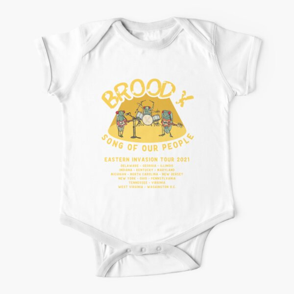 Cicada Brood X Cicada Invasion 2021 Cicada Song Eastern US Tour Short Sleeve Baby One-Piece