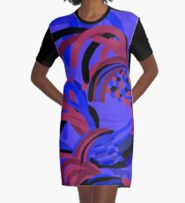 Rooster Abstract Art Blue iPad Cover Graphic T-Shirt Dress