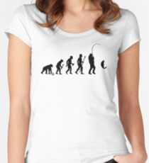 Evolution Of Man and Fishing Women's Fitted Scoop T-Shirt