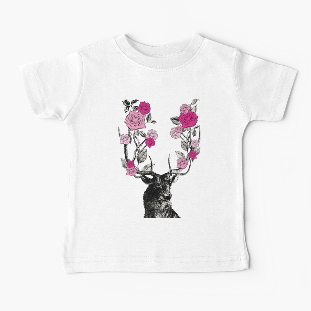 The Stag and Roses   Deer and Roses   Stag and Flowers   Deer and Flowers   Vintage Stag   Antlers   Woodland   Highland   Pink and Beige    Baby T-Shirt