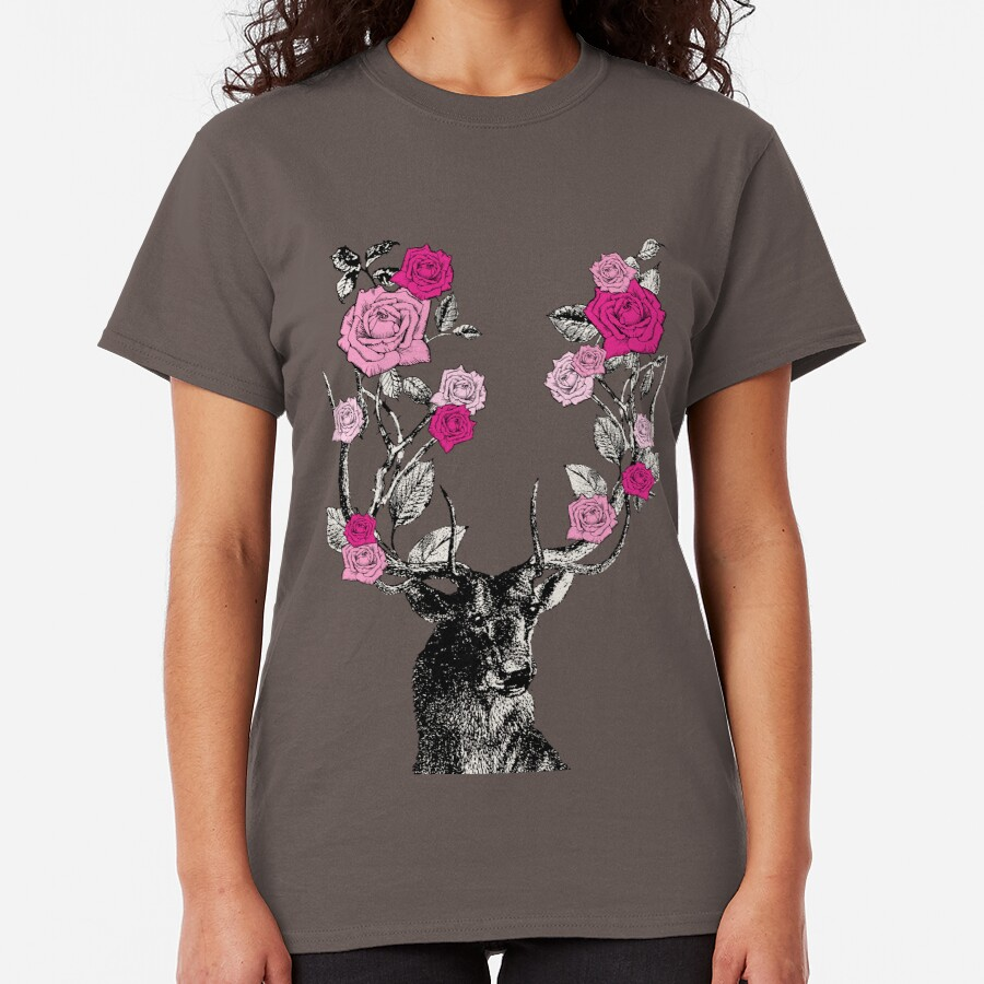 The Stag and Roses   Deer and Roses   Stag and Flowers   Deer and Flowers   Vintage Stag   Antlers   Woodland   Highland   Pink and Beige    Classic T-Shirt