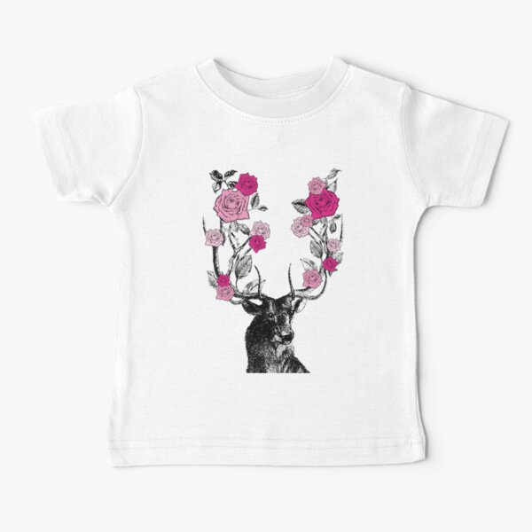 The Stag and Roses   Deer and Roses   Stag and Flowers   Deer and Flowers   Vintage Stag   Antlers   Woodland   Highland   Pink    Baby T-Shirt