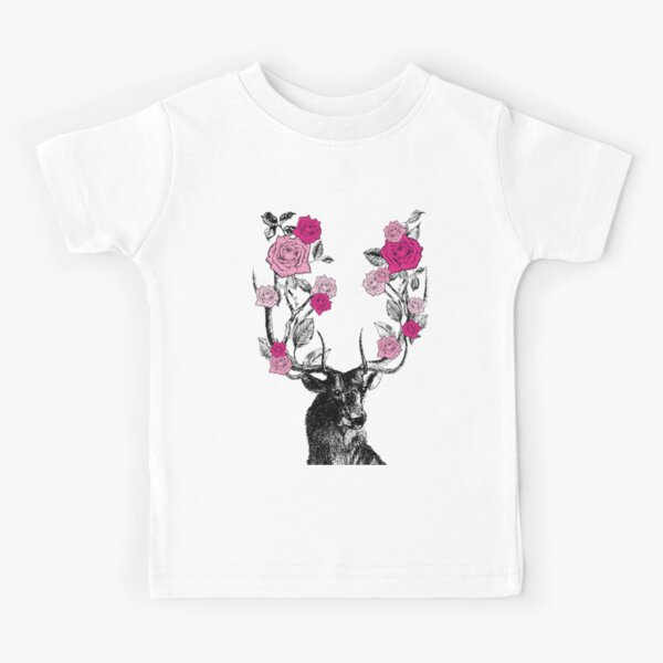 The Stag and Roses | Deer and Roses | Stag and Flowers | Deer and Flowers | Vintage Stag | Antlers | Woodland | Highland | Pink |  Kids T-Shirt