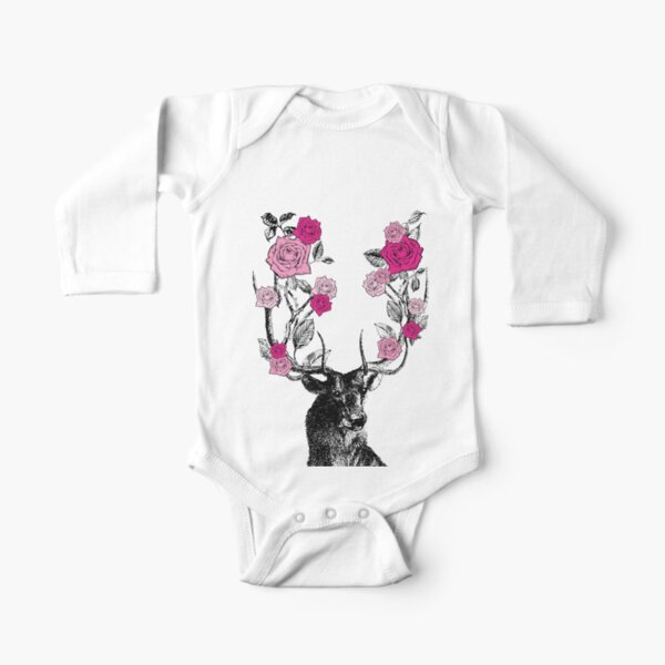 The Stag and Roses | Deer and Roses | Stag and Flowers | Deer and Flowers | Vintage Stag | Antlers | Woodland | Highland | Pink |  Long Sleeve Baby One-Piece