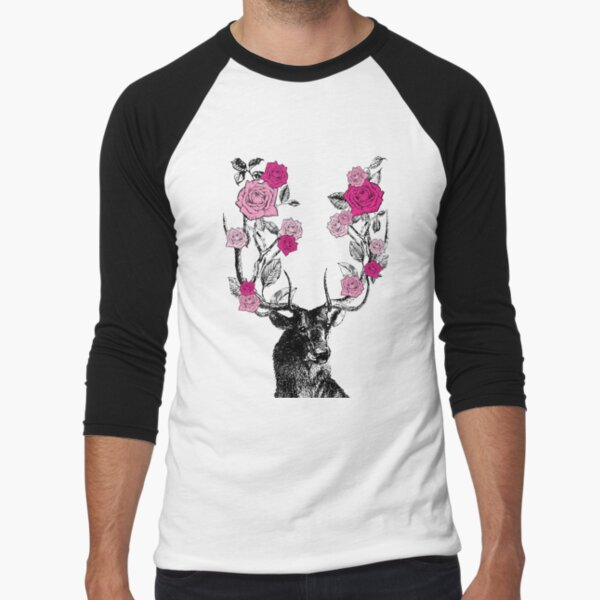 The Stag and Roses | Deer and Roses | Stag and Flowers | Deer and Flowers | Vintage Stag | Antlers | Woodland | Highland | Pink |  Baseball ¾ Sleeve T-Shirt