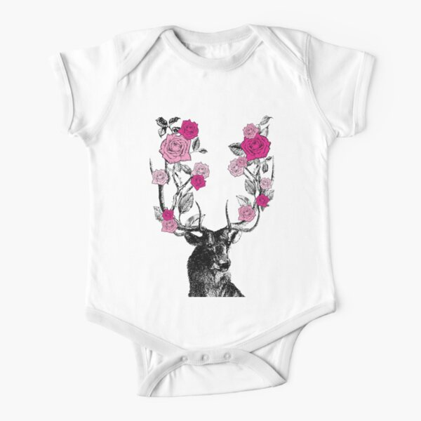 The Stag and Roses | Deer and Roses | Stag and Flowers | Deer and Flowers | Vintage Stag | Antlers | Woodland | Highland | Pink |  Short Sleeve Baby One-Piece