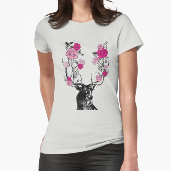 The Stag and Roses | Deer and Roses | Stag and Flowers | Deer and Flowers | Vintage Stag | Antlers | Woodland | Highland | Pink |  Fitted T-Shirt