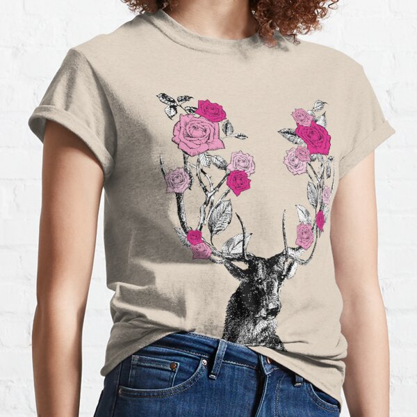 The Stag and Roses   Deer and Roses   Stag and Flowers   Deer and Flowers   Vintage Stag   Antlers   Woodland   Highland   Pink    Classic T-Shirt