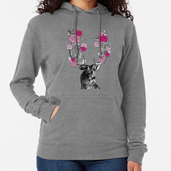 The Stag and Roses | Deer and Roses | Stag and Flowers | Deer and Flowers | Vintage Stag | Antlers | Woodland | Highland | Pink |  Lightweight Hoodie