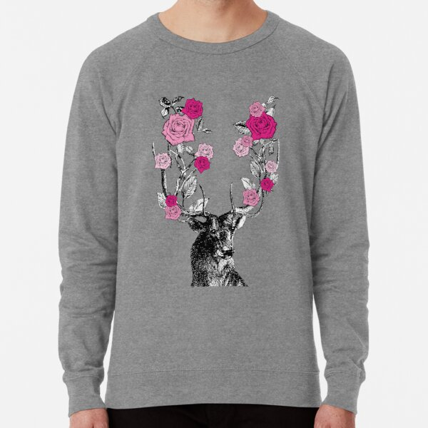 The Stag and Roses | Deer and Roses | Stag and Flowers | Deer and Flowers | Vintage Stag | Antlers | Woodland | Highland | Pink |  Lightweight Sweatshirt