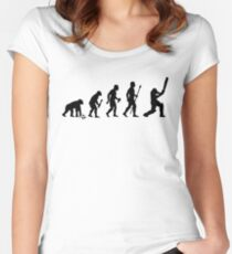 Evolution Of Man and Cricket Women's Fitted Scoop T-Shirt