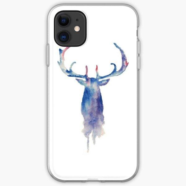 Coque iPhone « Tête de cerf géométrique noire », par LMPDrawings ...